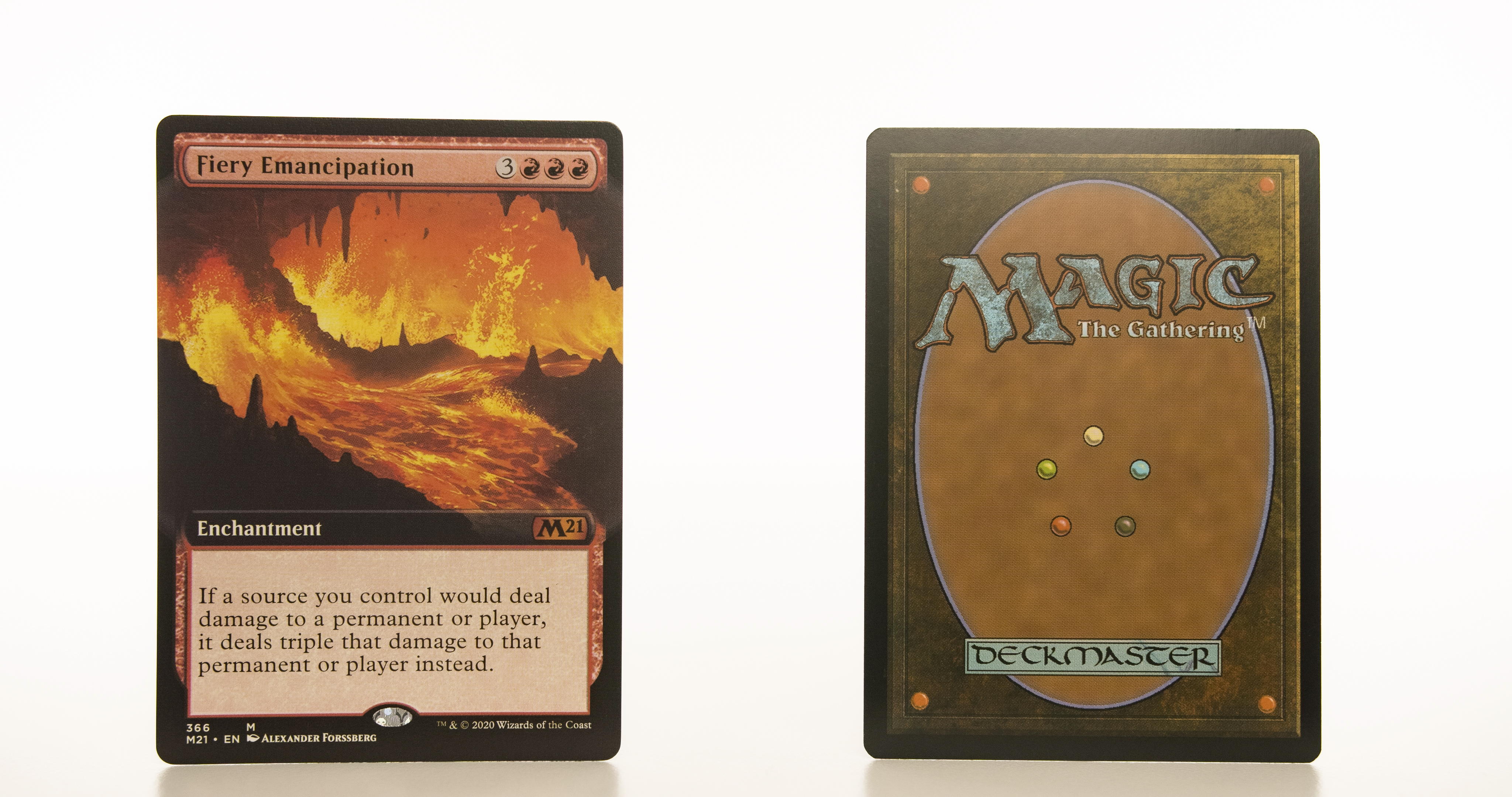 Fiery Emancipation extended art core set 2021 M21 hologram mtg proxy magic the gathering tournament proxies GP FNM available